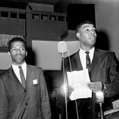 The Rev. Kelly Miller Smith, right, president of Nashville Christian Leadership Council and John Lewis, chairman of the Student Non-violence Committee of the NCLC, told a mass meeting of demonstrators May 10, 1963 at Mt. Zion Baptist Church on Jefferson St., not to protest in town until the outcome of the meeting between Nashville business officials and black leaders. Jack Corn / The Tennessean
