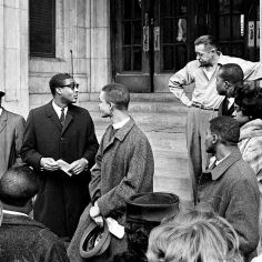 Leaders Rev. Andrew White, second from left, Rev. Kelly Miller Smith, center left, and Rev. J. Metz Rollins, center right, lead the demonstrators in their segregation protest of the downtown YMCA Feb. 24, 1963. Rev. Smith read a statement that the YMCA is not alone in practicing segregation, but was selected because it symbolizes the fact that segregation still dominates the scene in downtown Nashville. Bill Preston / The Tennessean