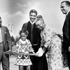 Breaking ground for the new First Baptist Church, Capitol Hill Sept. 13, 1970 are Ola Jenelle Martin, 7, the youngest member, and Mrs. Emma J. Hynes, representing elder members, center. Looking on are Clinton Jones, left, building fund chairman; the Rev. Kelly Miller Smith, pastor, and Dr. Lloyd C. Elam, chairman of the groundbreaking program. The new structure is expected to be complete in the late 1971. Joe Rudis / The Tennessean