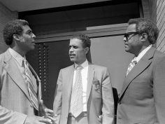 Dr. Edwin Mitchell, candidate for the legislature from the 54th District, center, leaves First Baptist Church Capitol Hill with the church's pastor, the Rev. Kelly Miller Smith, left, and the Rev. John L. Glenn of St. Luke's CME Church after a press conference July 27, 1972, with 21 ministers backing Mitchell for the seat. Joe Rudis / The Tennessean