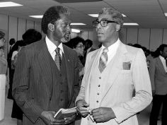 Dr. David Satcher, left, president of Meharry Medical College, talks with Dr. Kelly Miller Smith, pastor of First Baptist Church, Capitol Hill, after speaking at a Health Care Day service at the church July 11, 1982. Dale Ernsberger / The Tennessean