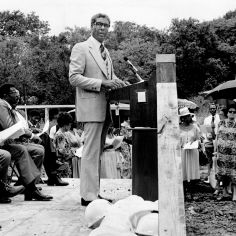 Dr. Kelly Miller Smith, center, pastor of the First Baptist Church, Capitol Hill, addresses a groundbreaking ceremony July 15, 1979 for a new apartment complex to serve the elderly and handicapped. His church is the sponsor of the building. J.T. Phillips / The Tennessean