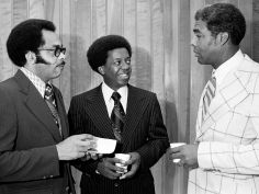 Dr. Lucius Walker Jr., center, associate general secretary of the National Council of Churches of Christ, talks to the Rev. Kelly Miller Smith, right, pastor of the First Baptist Church Capitol Hill, and the Rev. Peter Paris, minister of social concerns, at a reception following church services at First Baptist Sept. 22, 1974. Robert Johnson / The Tennessean