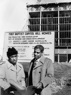 The Rev. Kelly Miller Smith, right, pastor of First Baptist Church, Capitol Hill, and Clinton E. Jones, a deacon and chairman of the church's finance committee, check plans Dec. 2, 1979 for the First Baptist Capitol Hill Homes, a high-rise apartment complex for aged and handicapped on Cliff Drive. Billy Easley / The Tennessean