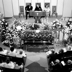 "Scores of floral tributes and hundreds of people attend a ""Memorial Celebration"" June 6, 1984 at First Baptist Church, Capitol Hill, in honor of the late Rev. Dr. Kelly Miller Smith. Rev. Smith, 63, died June 3rd in Hubbard Hospital of cancer. Ricky Rogers / The Tennessean"