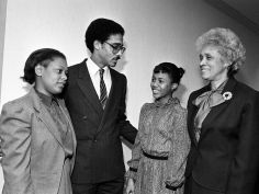 The family of the late Rev. Kelly Miller Smith Sr. witnesses the tribute paid to the civil rights and church leader by the Metro Human Relations Commission and the local American Civil Liberties Union Dec. 10, 1984. Family members include Mrs. and Rev. Kelly Miller Smith Jr., left, their daughter, Sharanda, and Mrs. Kelly Miller Smith Sr. Robert Johnson / The Tennessean